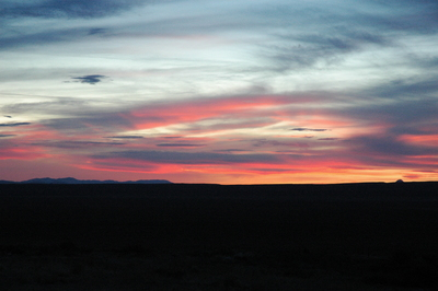 Blue mountains on a far horizon